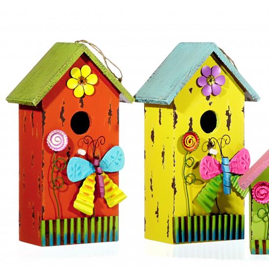 Houten Speelgoed Keuken Belgie : Houten vogelhuisje blauw met vlinder 30 cm Hobbymax – de online