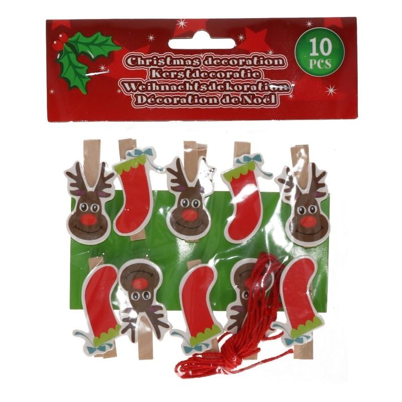 10x Kerst decoratie knijpers rendier-kerstsok met touw