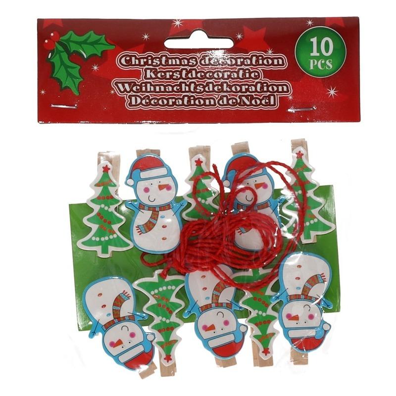 10x Kerst decoratie knijpers sneeuwpop-kerstboom met touw