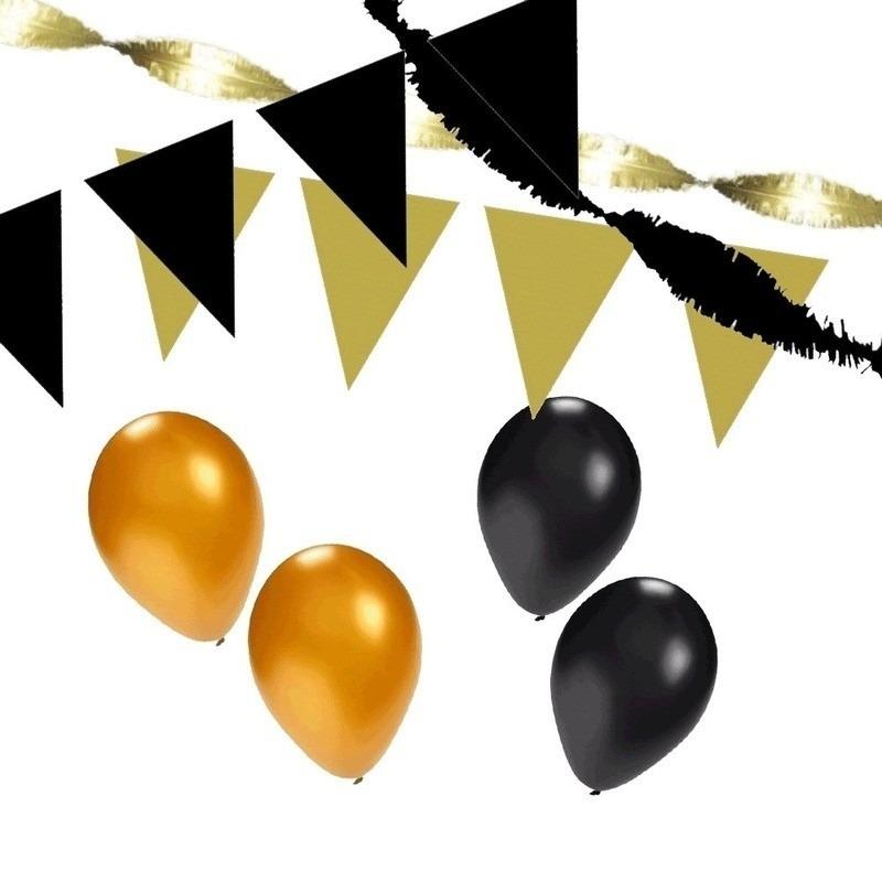 Black and Gold feest thema versiering pakket huiskamer