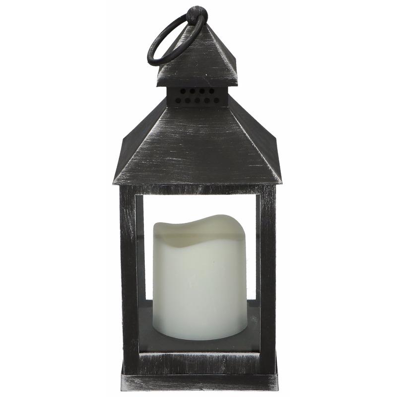 Decoratie lantaarn zwart met LED lamp 24 cm