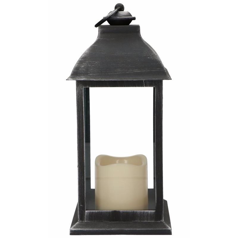 Decoratie lantaarn zwart met LED lamp 30 cm