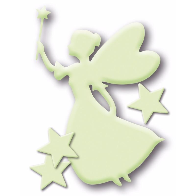 Decoratie stickers glow in the dark elfje met sterretjes