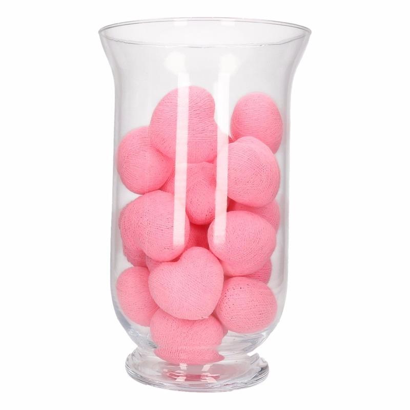 Homedeco vaas met roze lichtjes