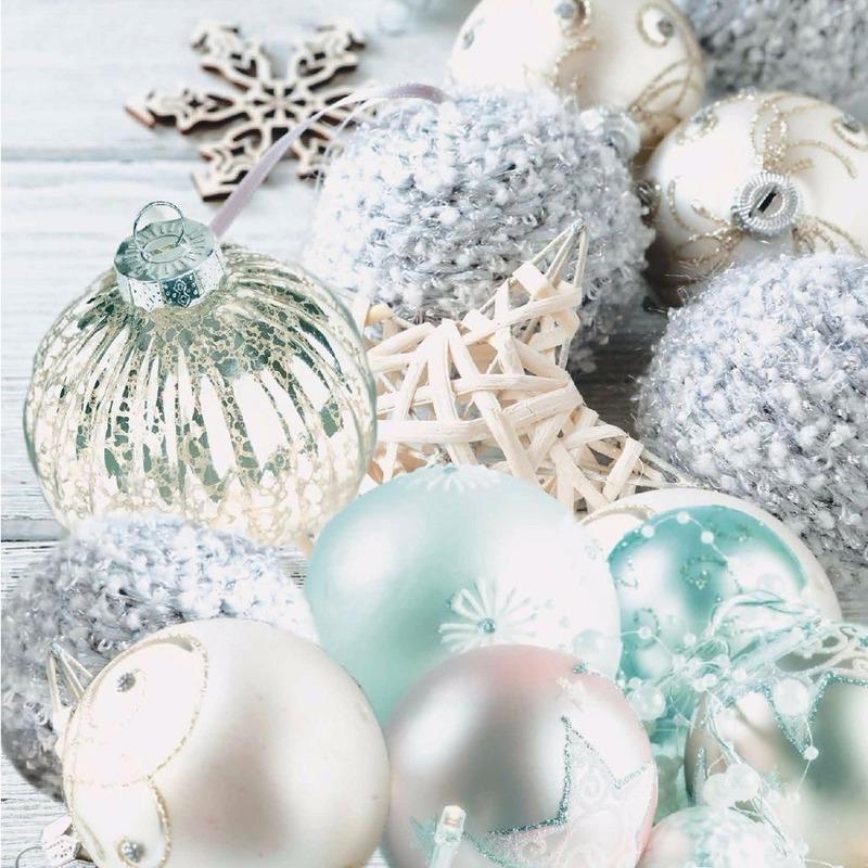 Kerstballen tafereel servetten 33 x 33 cm