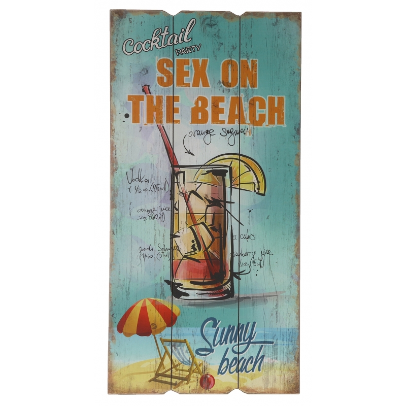 Wanddecoratie bordje Sex on the beach cocktail