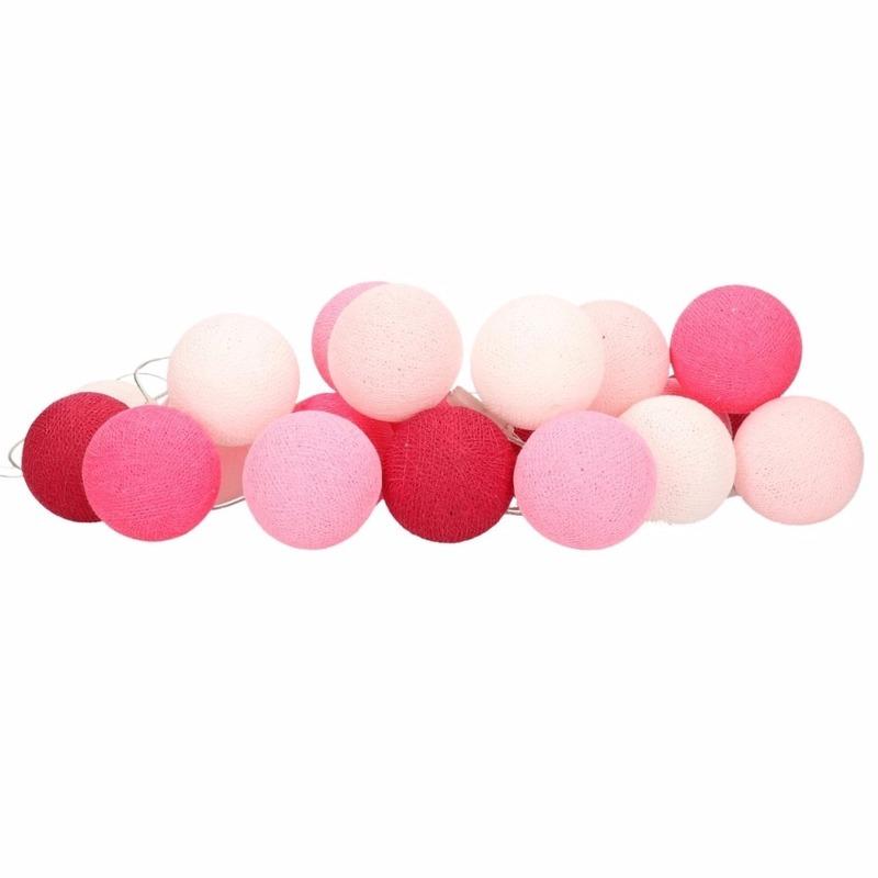 Woondecoratie katoenen balletjes lichtsnoer roze