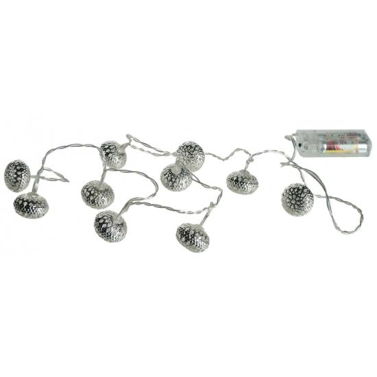 Zilveren kerstballen met verlichting