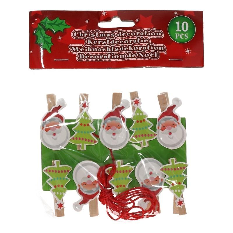 10x Kerst decoratie knijpers Kerstman-kerstboom met touw