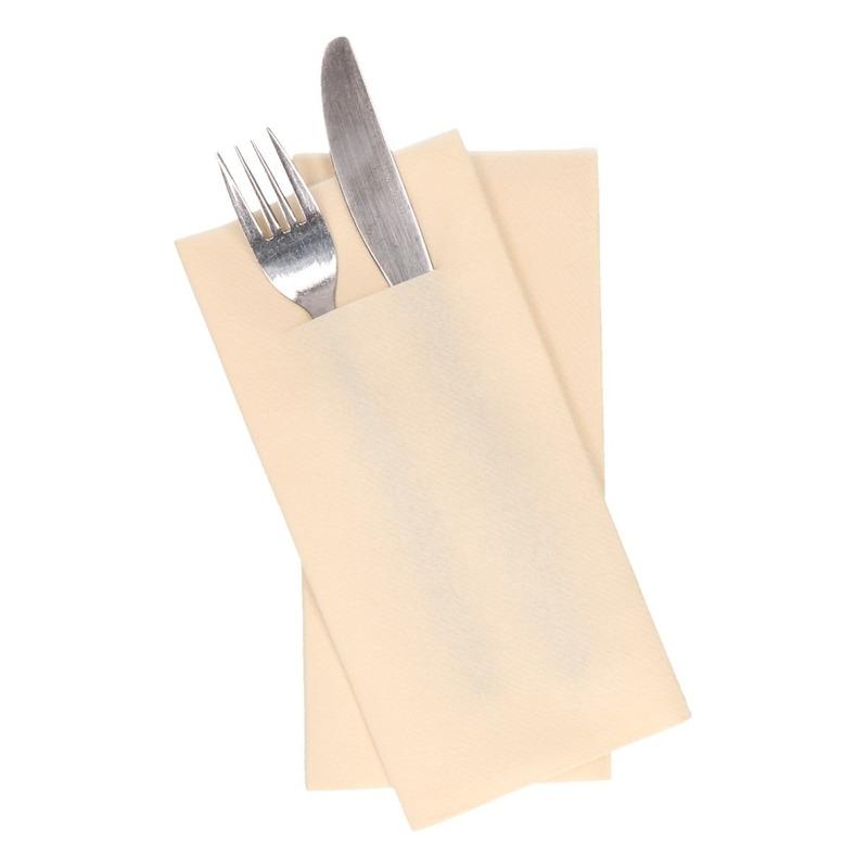 12x creme servetten met bestek gleuf 40 cm