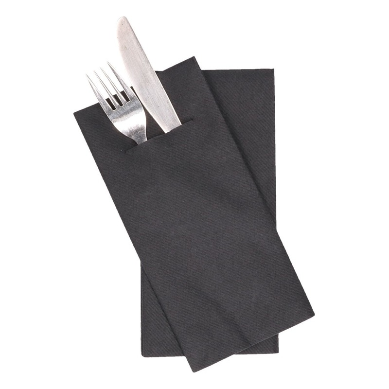 12x zwarte servetten met bestek gleuf 40 cm