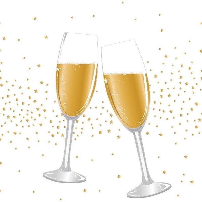 20x Witte 31 December-Nieuwjaar servetjes champagne-proost 33 x 33 cm versiering-decoratie