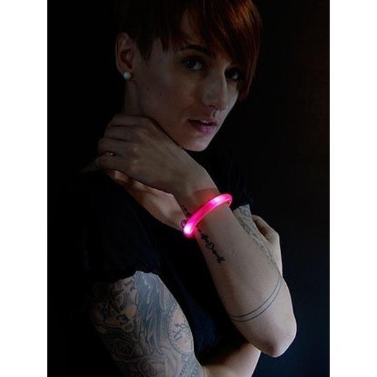 2x Feest-party rode armbanden met LED lampjes voor dames-heren-volwassenen