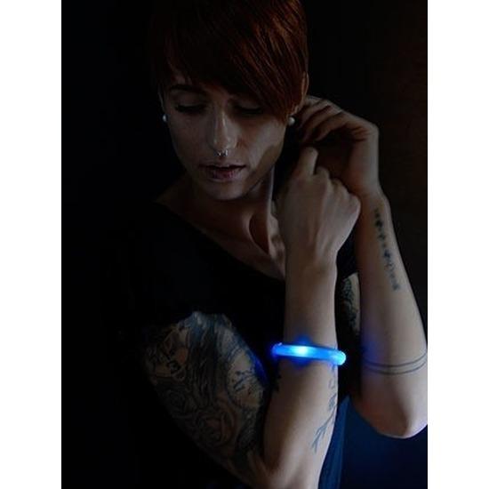 3x Feest-party blauwe armbanden met LED lampjes voor dames-heren-volwassenen