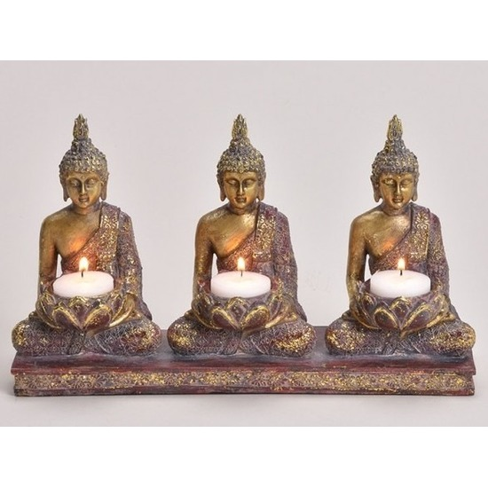 3x Woondecoratie boeddha beeld kaarshouder 17 cm