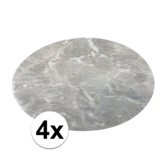 4x ronde tafel onderlegger marmerlook grijs 38 cm