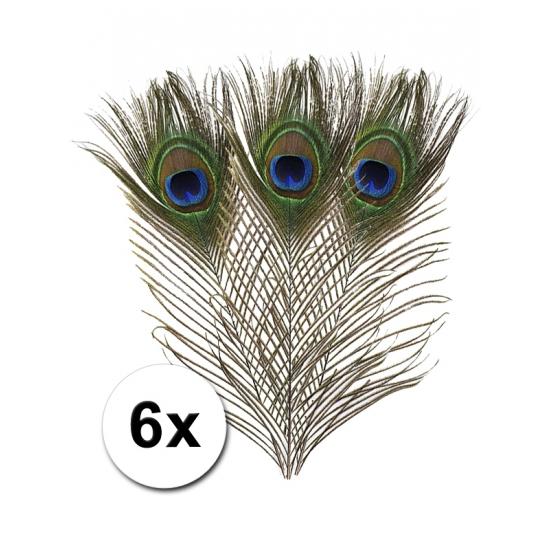 Decoratieve pauwenveren 6x