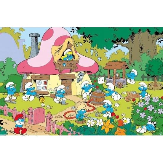 Thema feest Smurfen Tuin Maxi poster 61 x 91 cm